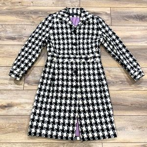 LARRY LEVINE Signature Houndstooth Lined Coat 10